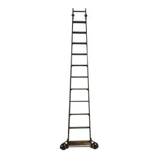 1920's English Traditional Mahogany Library Ladder
