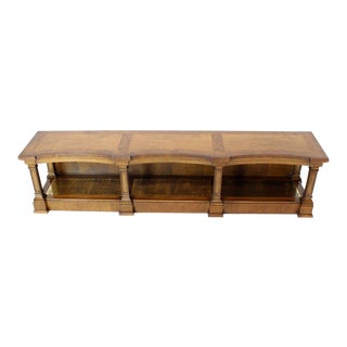 Low Profile Burl Wood Banded Credenza Display Bench or Table With Brass Shelf For Sale