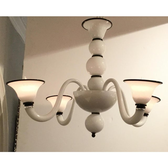Italian Modern Black and White Glass Chandelier For Sale - Image 4 of 5