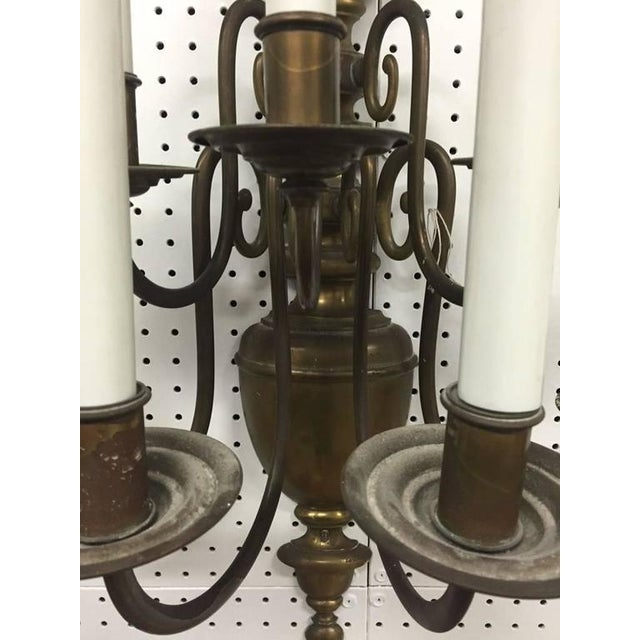 Williamsburg Style Brass Electrified Sconces - A Pair - Image 4 of 9