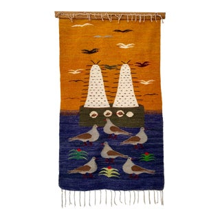Vintage Wool Seagull Bird Tapestry For Sale