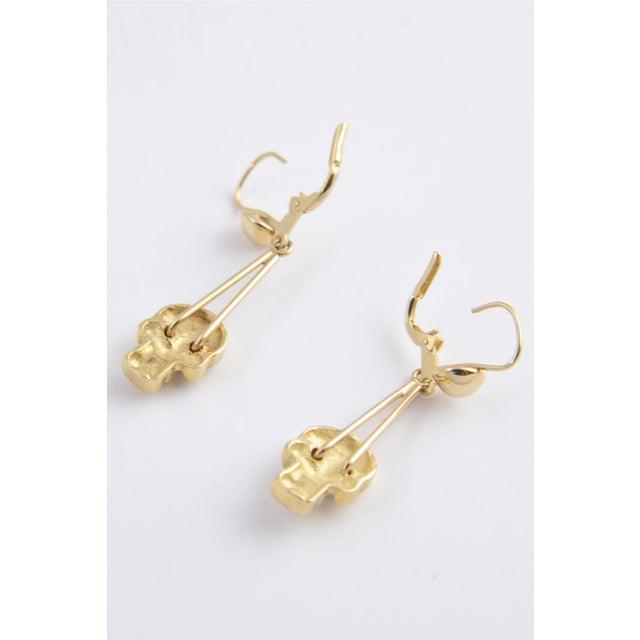 Skull Diamond and Gold Dangle Earrings For Sale - Image 4 of 5