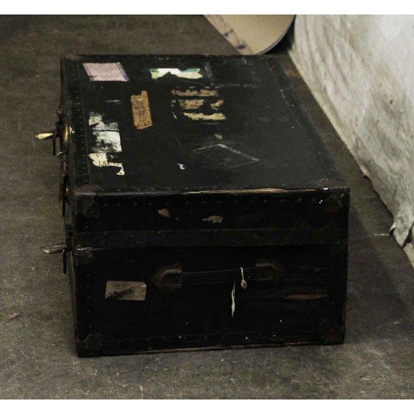 Antique Trunk With Bronze Hardware For Sale - Image 6 of 9