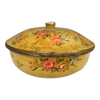 Vintage Japanese Hand Decorated Turned Wood Round Lidded Box For Sale