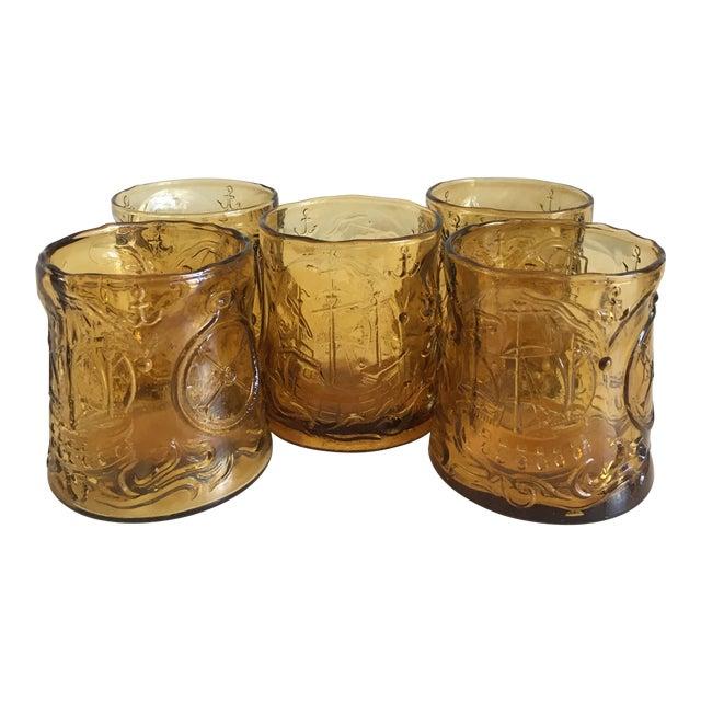 Vintage Italian Amber Glass Tumblers - Set of 5 - Image 1 of 9