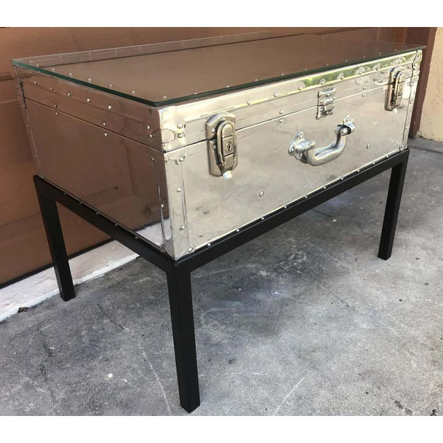 Modern Japanese Post War Aluminum Riveted Trunk on Iron Stand With Glass Top, Restored For Sale - Image 3 of 12