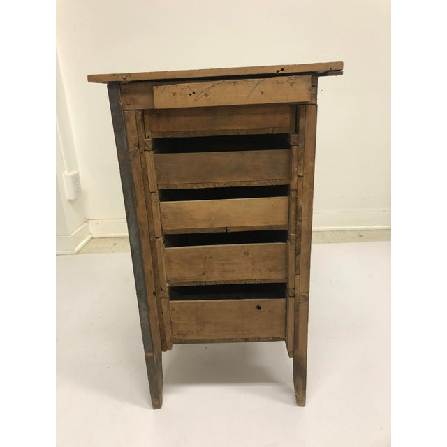 Vintage Industrial Wood 5 Drawer Vertical File Cabinet For Sale - Image 11 of 13