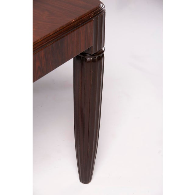 French 1930s French Rosewood Writing Table With Fluted Legs For Sale - Image 3 of 12