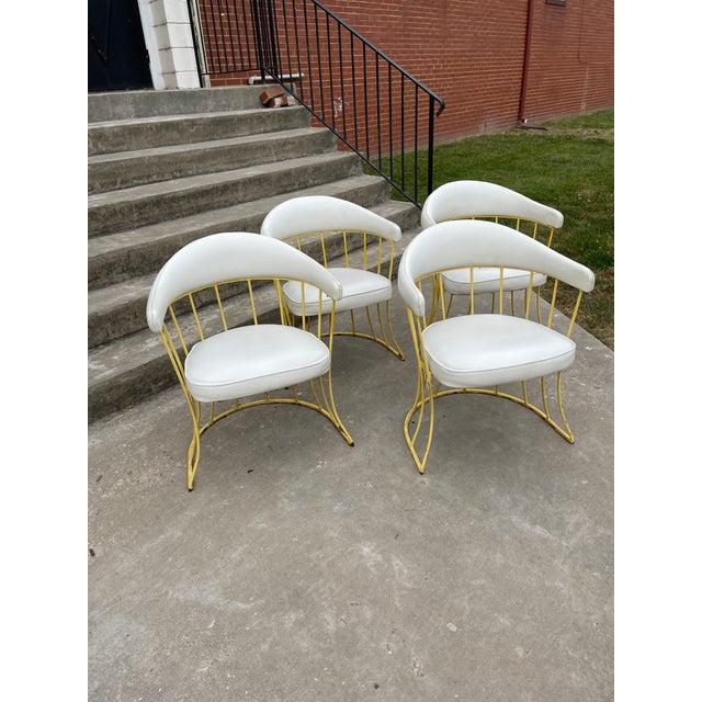 White Mid Century Iron & Vinyl Patio Chairs - Set/4 For Sale - Image 8 of 8
