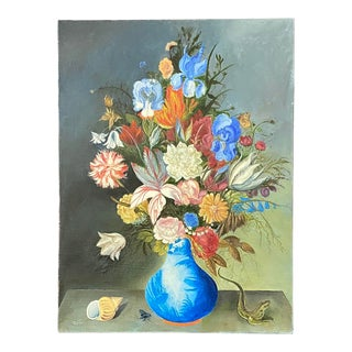 Dutch Style Floral Still Life Oil Painting For Sale