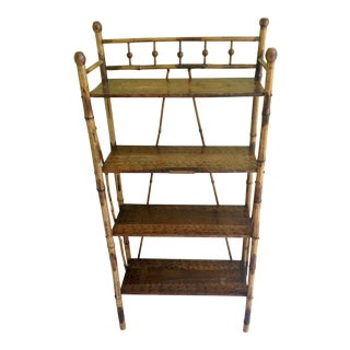 19th Century Victorian Burnt Bamboo and Wood Etagere