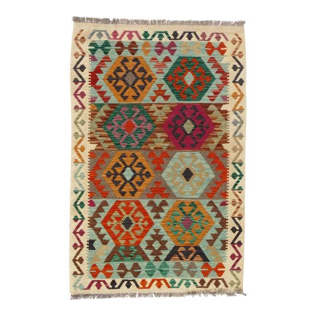 Afghan Kilim Handspun Wool Rug - 3′3″ × 5′ For Sale