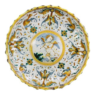 Early Italian Majolica Footed Bowl For Sale