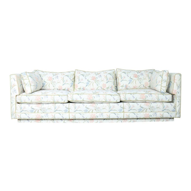 Mid-Century Modern Floral Sofa - Image 1 of 10
