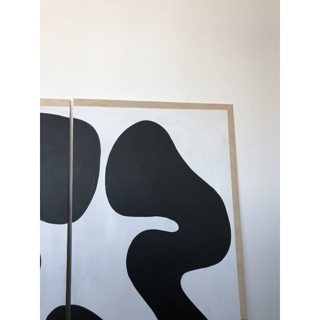 2010s The Big Swim X Hannah Polskin Black and White Abstract Diptych For Sale - Image 5 of 9