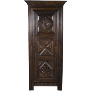 19th Century Jacobean Carved Oak Hall Wardrobe