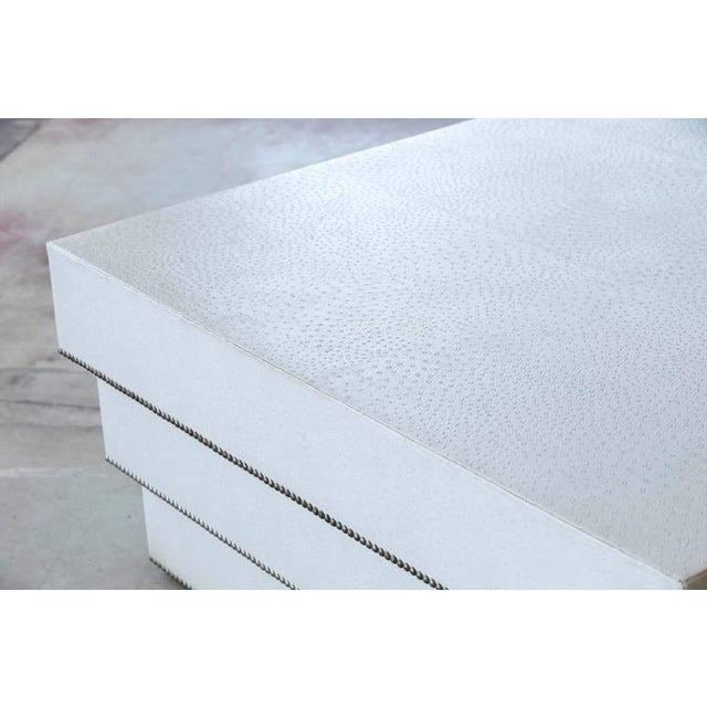 Custom-Made White Faux Ostrich Leather Coffee Table with Nailhead Trim - Image 6 of 7