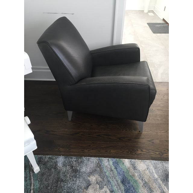 Black Leather Club Chairs - A Pair - Image 4 of 6