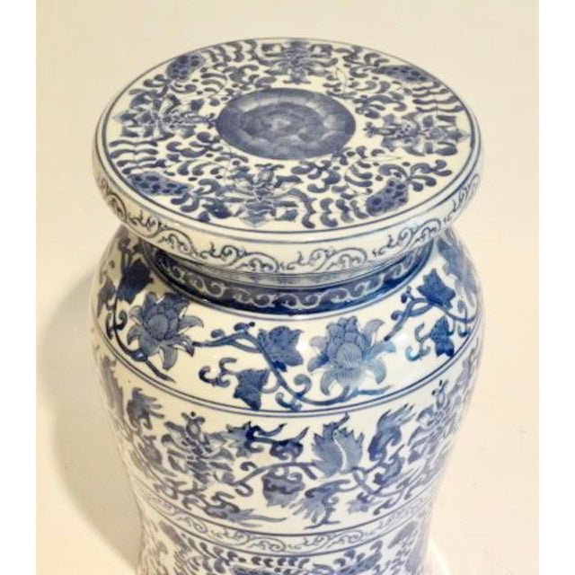 Asian Blue and White Ceramic Garden Stool For Sale - Image 3 of 9