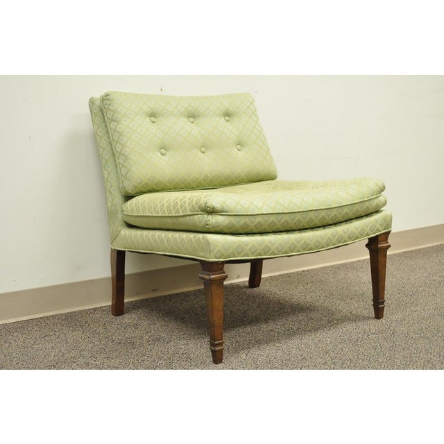 Item: Vintage Hollywood Regency Green Upholstered Slipper Chair Details: Tufted Back and Seat, Solid wood legs, Very...