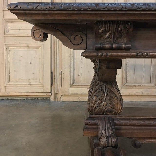 Antique Italian Renaissance Walnut Desk - Dining Table For Sale - Image 9 of 11