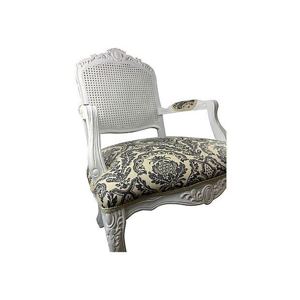 French White Cane & Linen Chair - Image 5 of 5