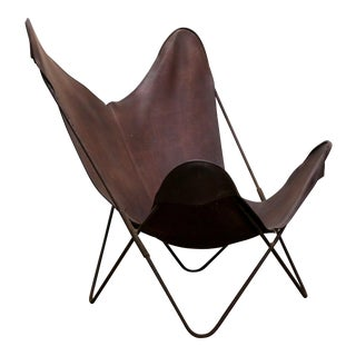 Authentic Vintage Jorge Ferrari-Hardoy Leather and Iron Butterfly Lounge Chair For Sale
