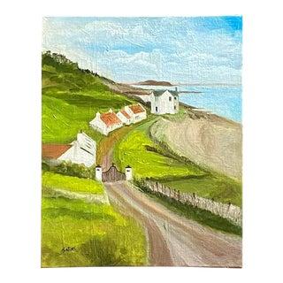Contemporary English Seaside Village Landscape Oil Painting by Satori Gregorakis For Sale