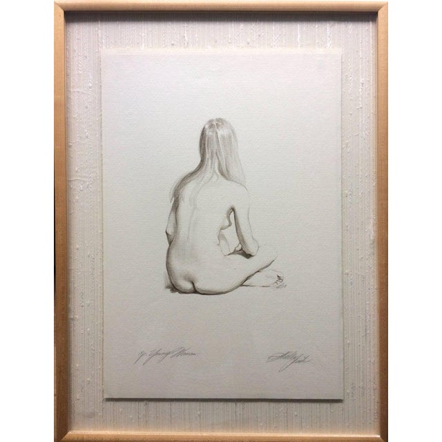 Original Pencil Drawing Sitting Nude by Sheldon Shelly Fink American For Sale - Image 4 of 5