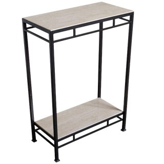 Marcelo Console Table With Travertine Shelves For Sale