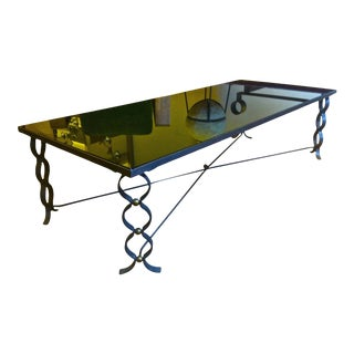Jean Royere Long Coffee Table in Wrought Iron Model Ruban With Brass Balls For Sale