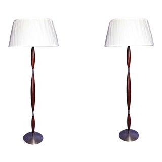 Vintage Mid Century Modern Design Brushed Metal Mahogany Floor Lamps - a Pair For Sale