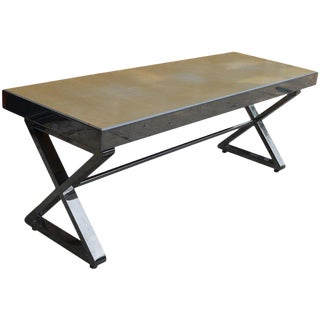 Milo Baughman Style Chrome Bench With X Form Base For Sale