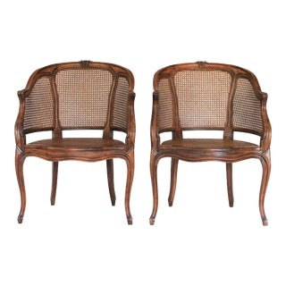 Louis XV Caned Bergere Chairs - a Pair For Sale
