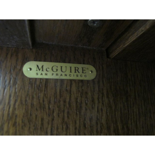 Brown 1980s Mid-Century Modern McGuire Wood Dry Bar Rolling Cart For Sale - Image 8 of 12