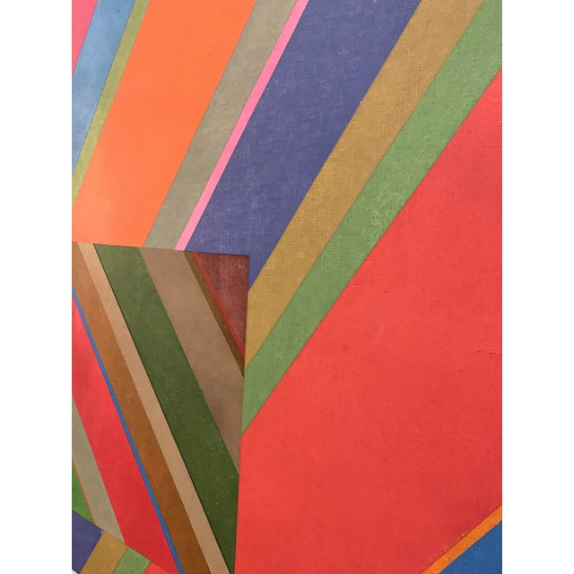 Large 1970s Graphic Hardedge Geometric Painting by Roland Ginzel For Sale - Image 9 of 12
