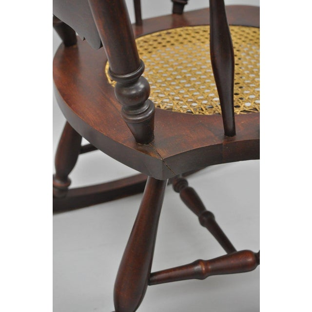 Antique Carved Mahogany Eagle Rocking Chair Rocker Victorian Figural Cane Seat - Image 5 of 12