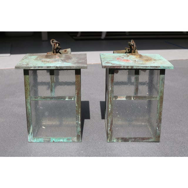 Vintage Weathered Copper and Glass Outdoor Hanging Lanterns - a Pair For Sale - Image 4 of 10