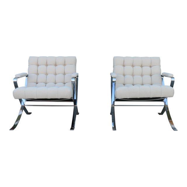 Steel Chrome Lounge Chairs inspired by Milo Baughman For Sale