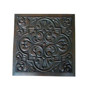 19th Century Two Side Carved Wood Panel Heraldic Rose Design For Sale