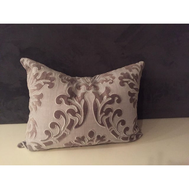 Fabric Linen and Velvet Meet Each Other Pillows - A Pair For Sale - Image 7 of 8