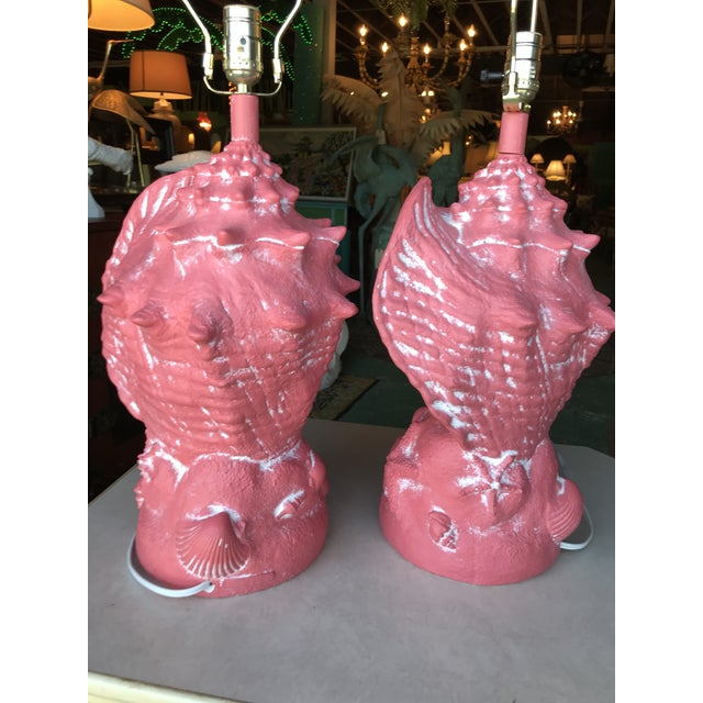 Coastal Regency Large Coral Conch Shell Lamps-A Pair For Sale - Image 6 of 12