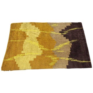 Scandinavian Abstract Shag Rug, circa 1970