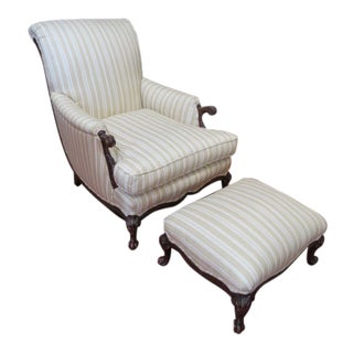 Vintage French Style Carved Walnut Lounge Chair and Ottoman For Sale