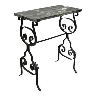 Antique French Black Wrought Iron Marble Top Accent Table For Sale