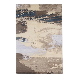 "Pasargad N Y Modern Wool & Bamboo Silk Hand Knotted Area Rug - 6'1"" X 9'2"" For Sale"