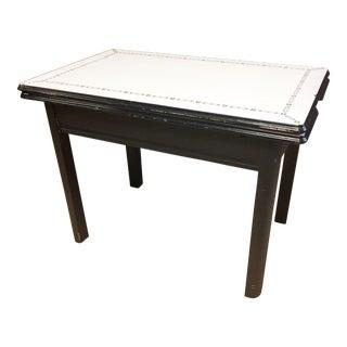 Vintage White Primitive Enamel Top Farm Table