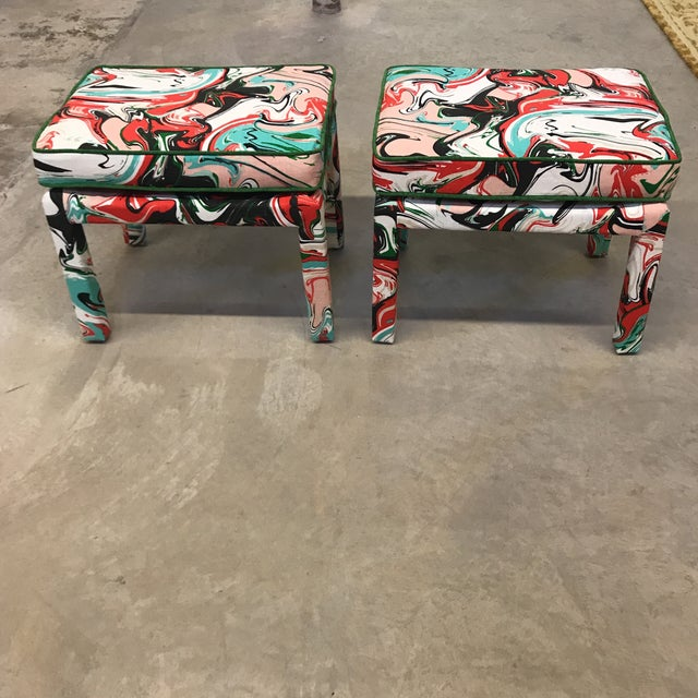 Kate Spade Marble Swirl Linen Fabric Covered Benches - a Pair - Image 10 of 10