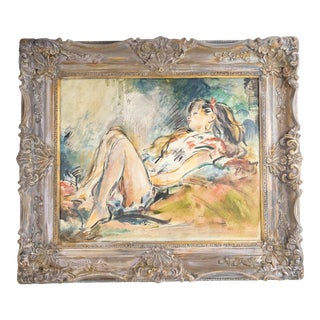 Early 20th Century Portrait of a Young Lady Oil Painting by Purdy, Framed For Sale