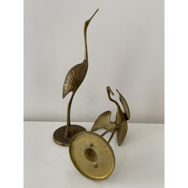 Brass Brass Crane Figurines - a Pair For Sale - Image 8 of 10